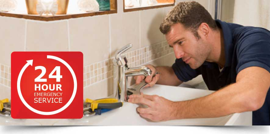 image of a man repairing a sink and a 24 hour emergency service text